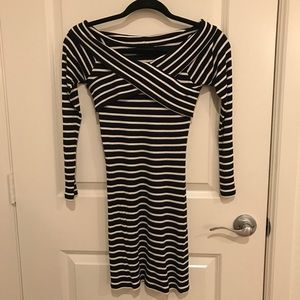 Topshop petite off shoulder striped bodycon dress